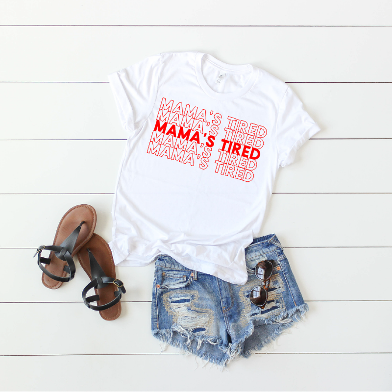 Mama's Tired {repeat} - White + Red Unisex Crewneck - Little Hooligans Co.