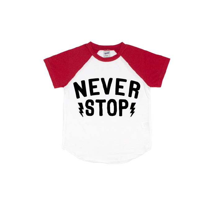 Never Stop - Red/White Short Sleeve Raglan-Little Hooligans Co.