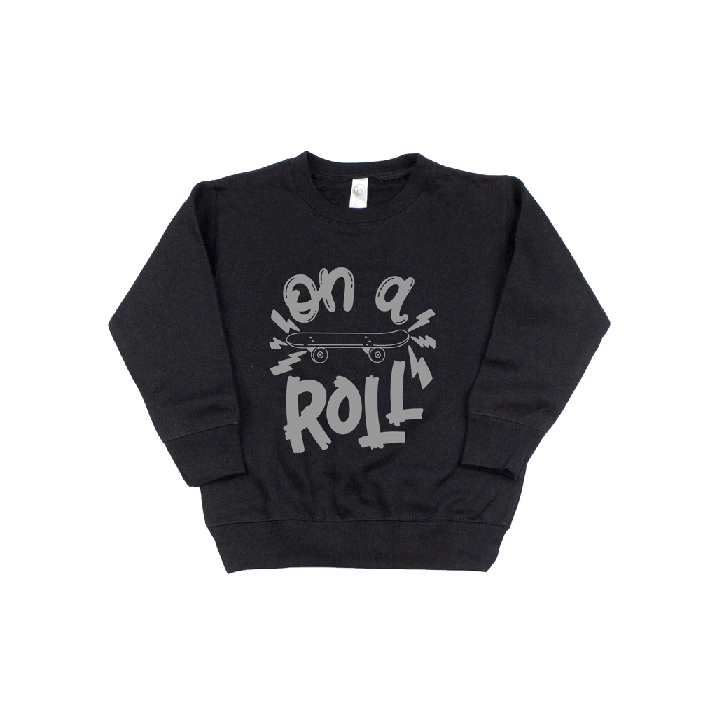 On A Roll - Black Fleece Pullover-Little Hooligans Co.
