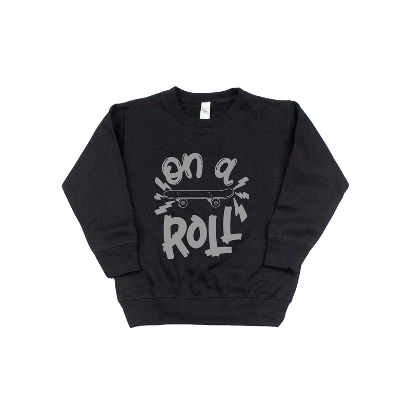On A Roll - Black Fleece Pullover - Little Hooligans Co.