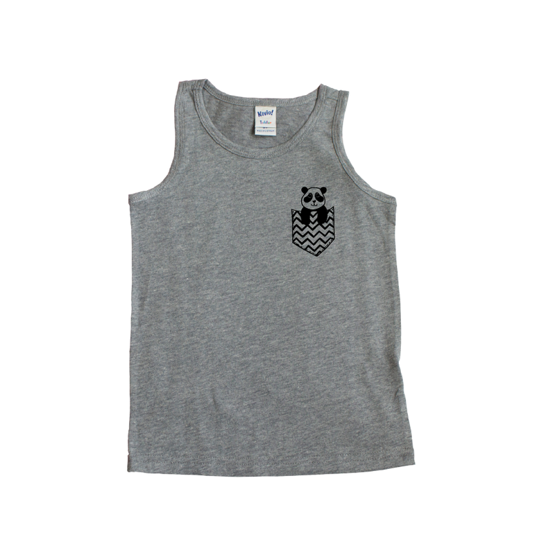 Pocket Pals - Grey + Black Tank-Little Hooligans Co.
