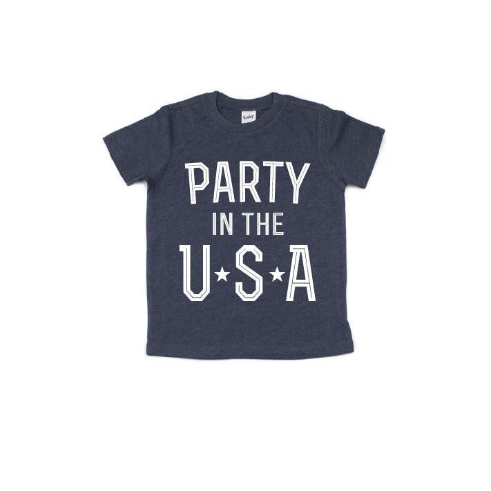 Party in the USA - Navy Kids Tee - Little Hooligans Co.