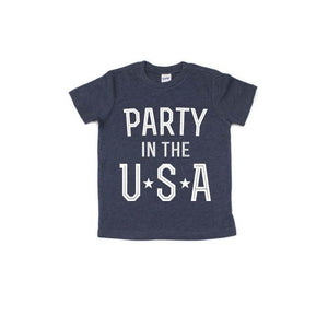 Party in the USA - Navy Kids Tee-Little Hooligans Co.