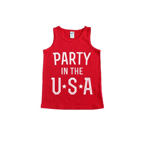 Party in the USA - Red Kids Tank-Little Hooligans Co.
