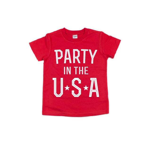 Party in the USA - Red Kids Tee - Little Hooligans Co.