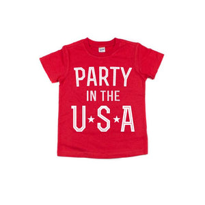 Party in the USA - Red Kids Tee-Little Hooligans Co.
