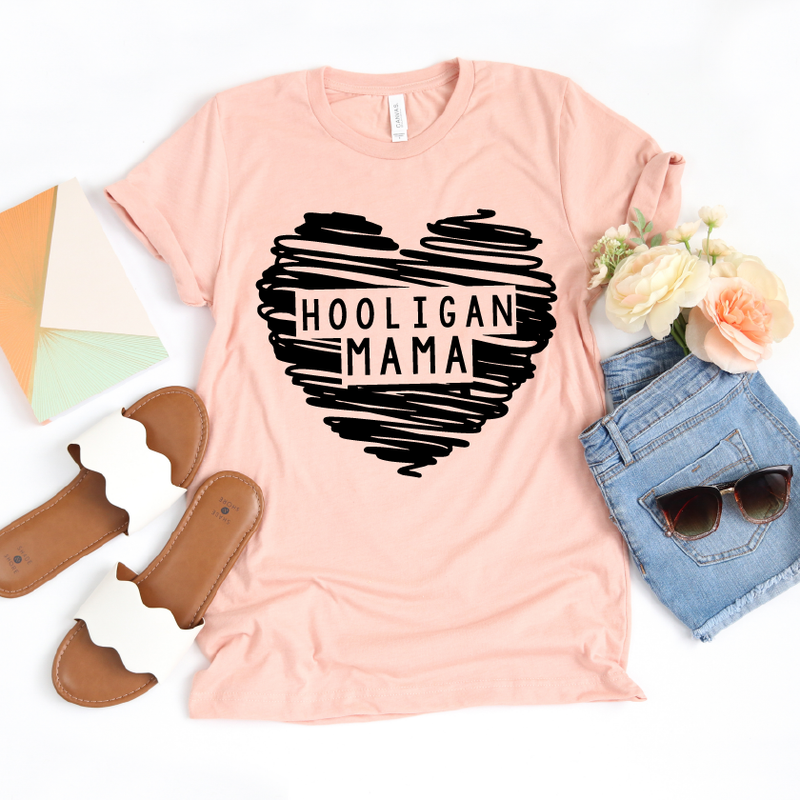 Hooligan Mama - Unisex Peach Tee - Little Hooligans Co.