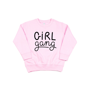Girl Gang - Pink Fleece Pullover-Little Hooligans Co.