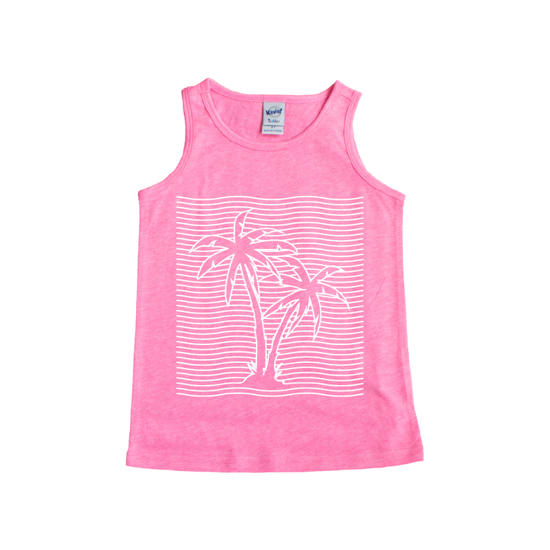 Palm Trees - Pink Tank-Little Hooligans Co.