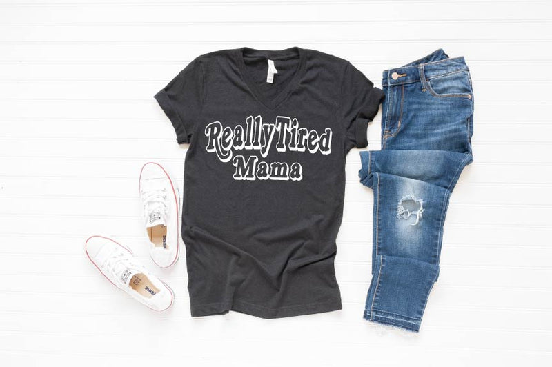 Really Tired Mama - Unisex V-neck-Little Hooligans Co.