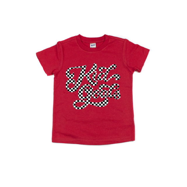 Kid Goals {checkered} - Red Tee-Little Hooligans Co.