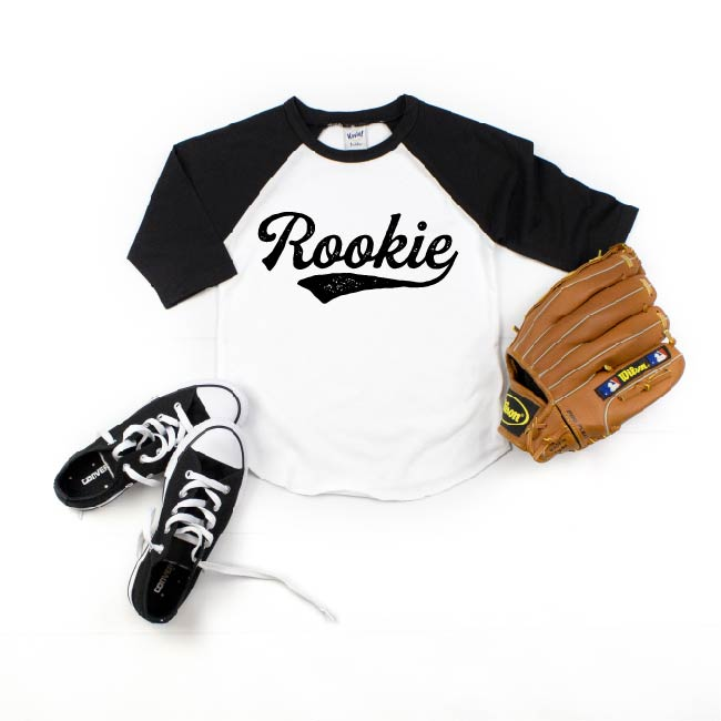 Rookie - Black/White Raglan-Little Hooligans Co.