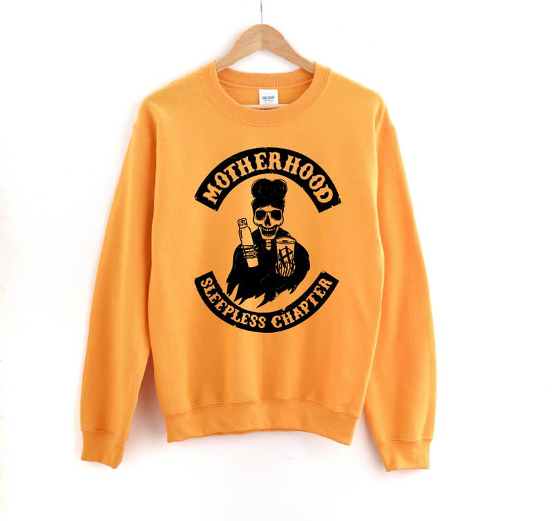Sleepless Chapter - Unisex Mustard Pullover-Little Hooligans Co.