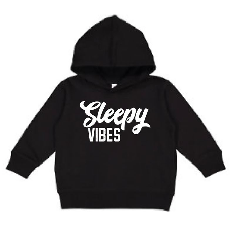 Sleepy Vibes - Black Hoodie-Little Hooligans Co.