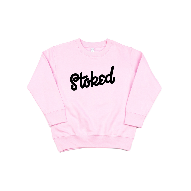 Stoked - Pink Fleece Pullover-Little Hooligans Co.