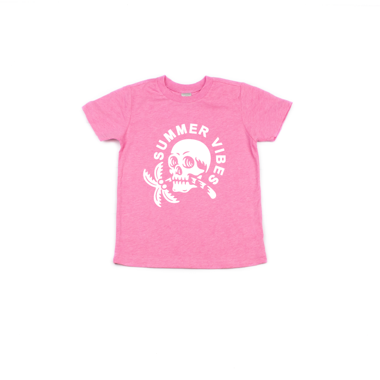 Summer Vibes (Skull + Palm Tree) - Kids Tee-Little Hooligans Co.
