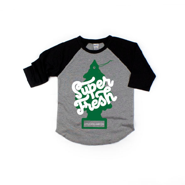 Super Fresh - Grey/Black Raglan-Little Hooligans Co.