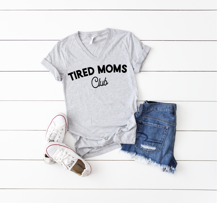 Tired Moms Club - Unisex Grey V-Neck-Little Hooligans Co.