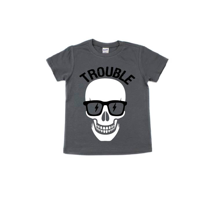Trouble (Black + White) - Kids Tee - Little Hooligans Co.