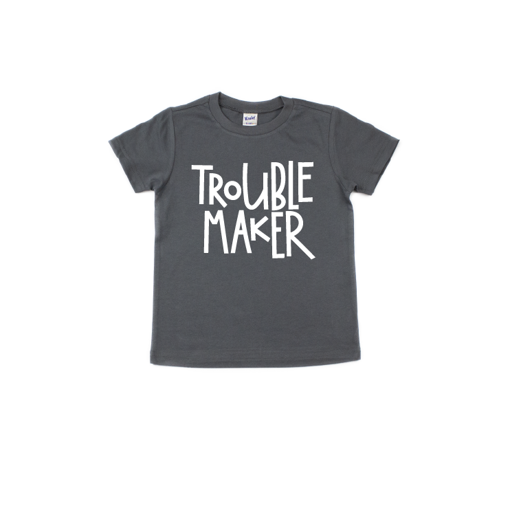 Trouble Maker - Charcoal Tee-Little Hooligans Co.