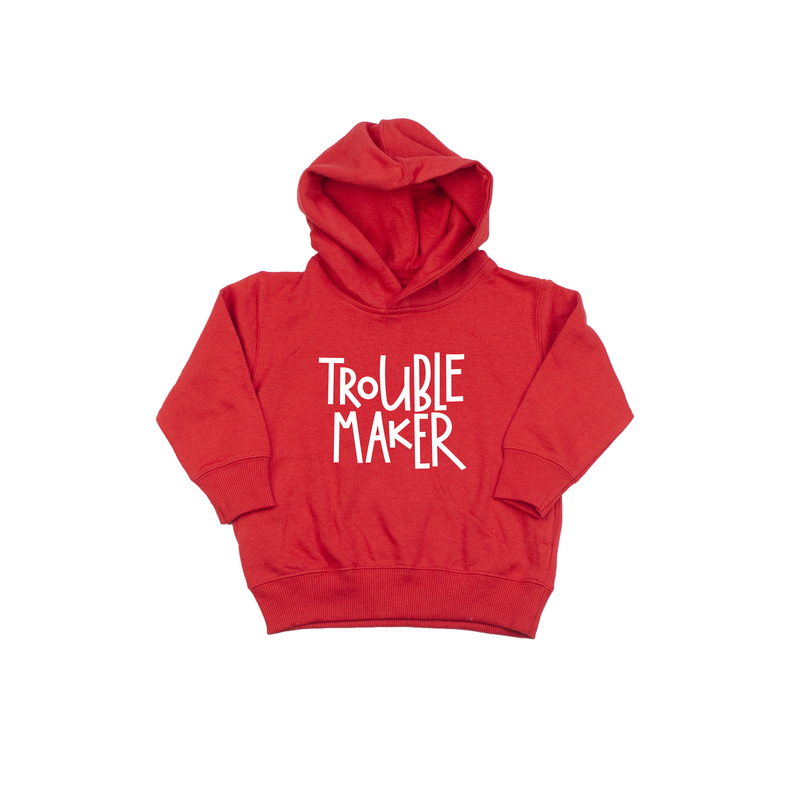 Trouble Maker - Red Fleece Hoodie-Little Hooligans Co.