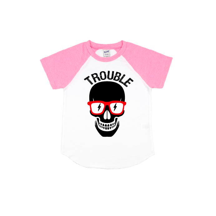 Trouble - Pink Short Sleeve Raglan-Little Hooligans Co.