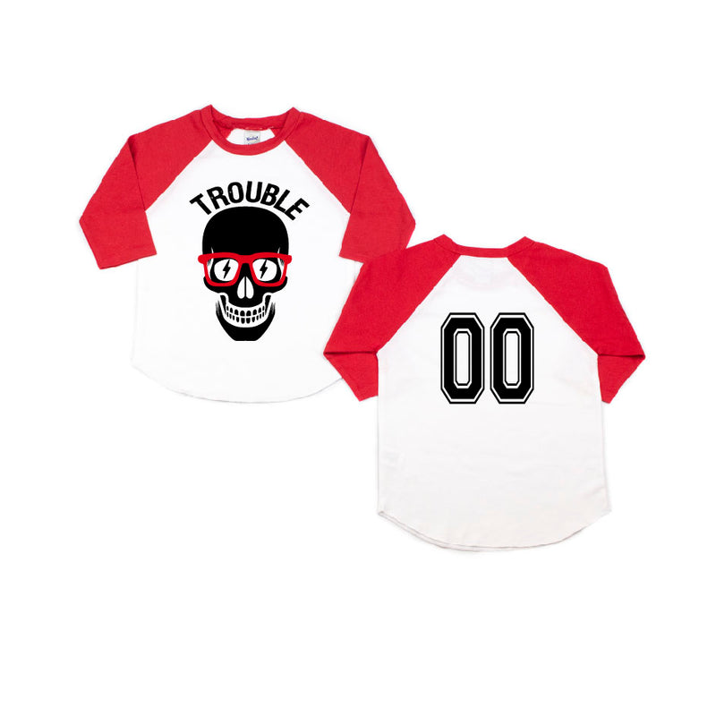 Trouble - Red/White Raglan-Little Hooligans Co.