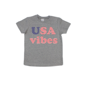 USA Vibes - Kids Grey Tee-Little Hooligans Co.