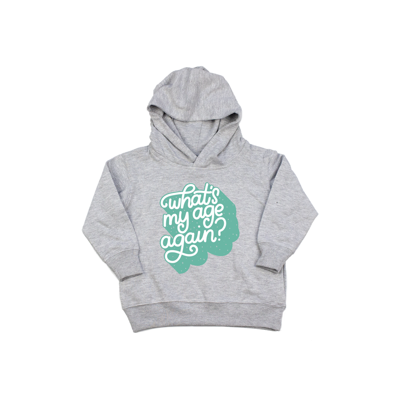 What's My Agee Again - Grey + Aqua Kids Hoodie-Little Hooligans Co.