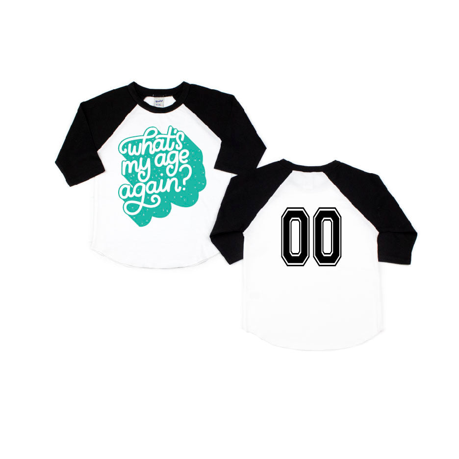 Whats My Age Again - Black/White Raglan-Little Hooligans Co.