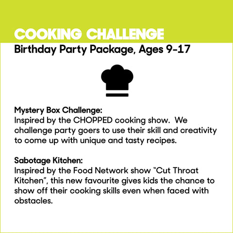 Cooking Challenge, Ages 9-17