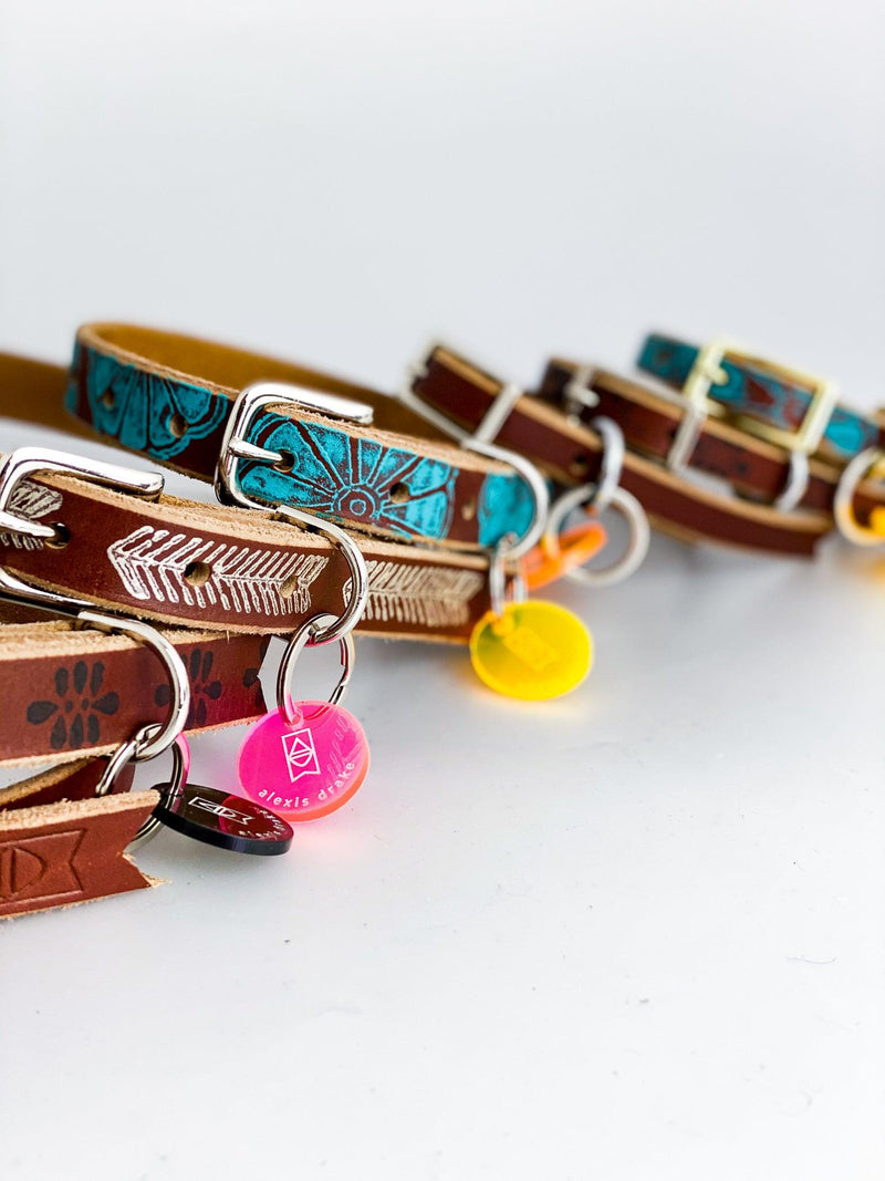 Hand-painted Leather Pet Collar