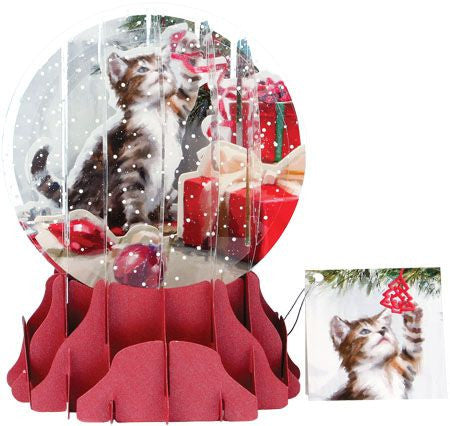 up with paper 3d christmas kitten globe sgs060l