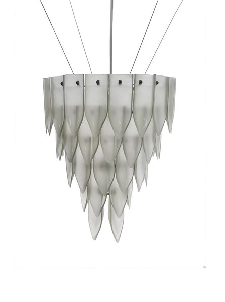 Artecnica transglass white satin recycled glass chandelier
