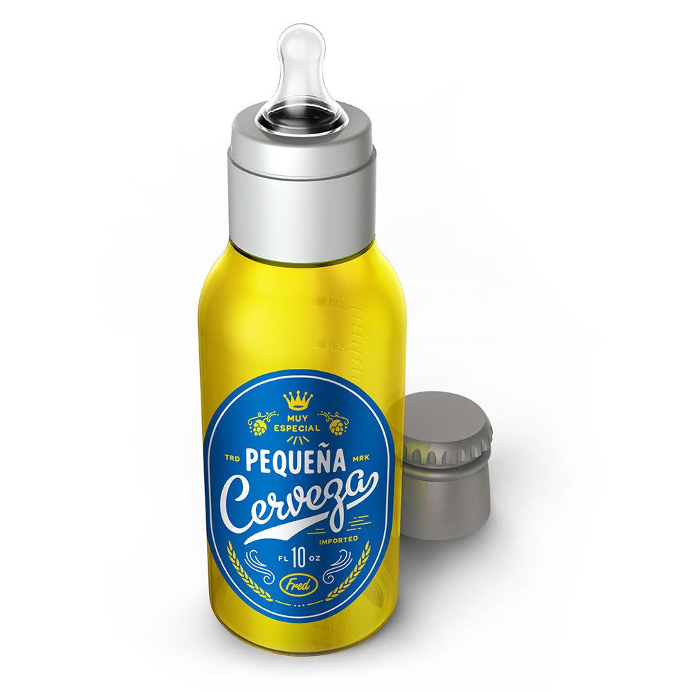 fred and friends pequena cerveza baby bottle yellow