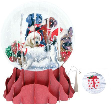up with paper christmas dogs globe card sgs055l