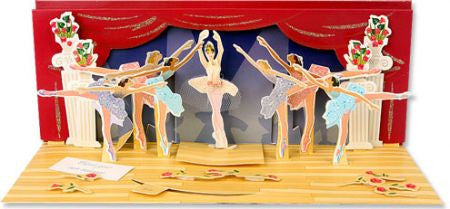 up with paper A016 ballerina 3d pop up card