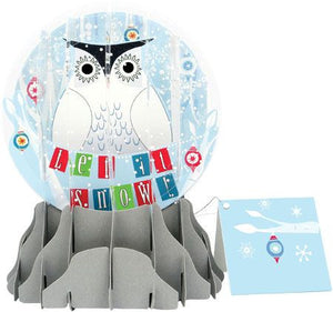 up with paper snowy owl globe card sgs054l