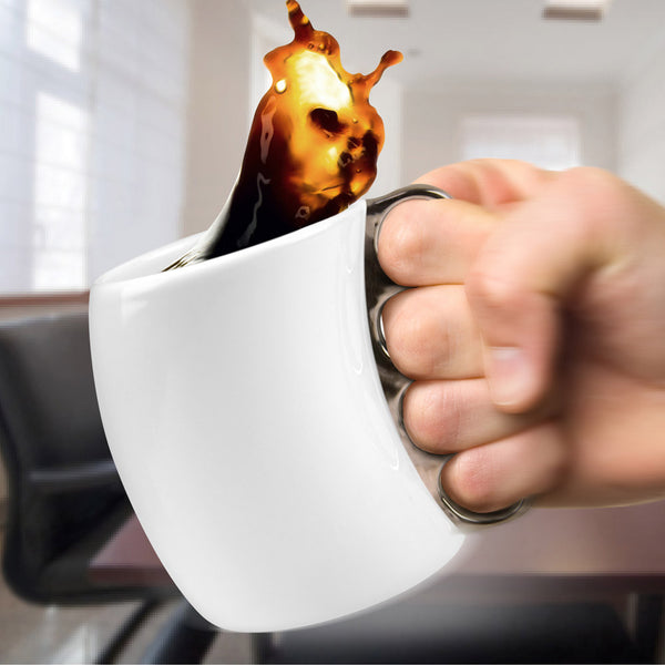 Fred and Friends fisticup brass knuckle coffee mug