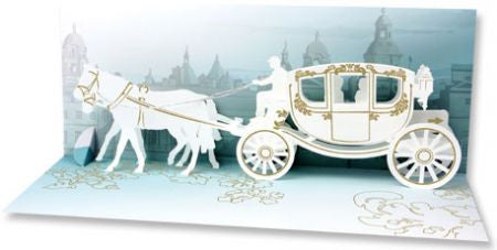Up with paper A210 wedding carriage 3d pop up card