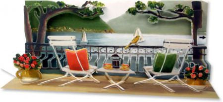 up with paper A185 lake view 3d pop up greeting card