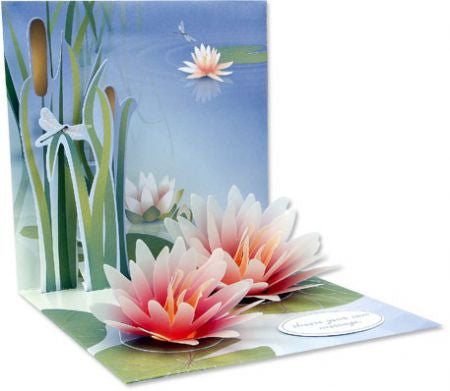 up with paper 1047 water lily 3d greeting card