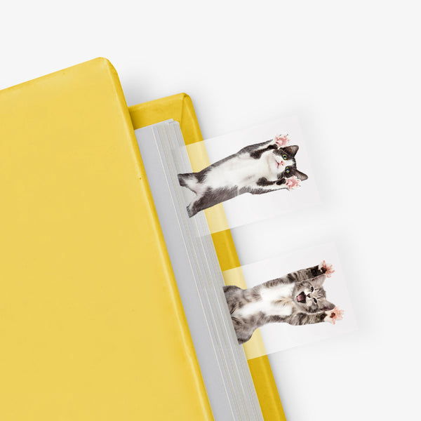 Just mustard cat in a book page markers