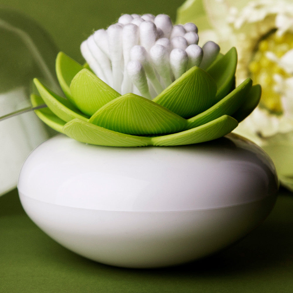 qualy lotus green cotton bud holder