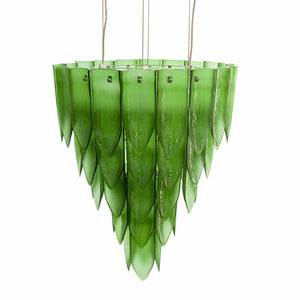 Artecnica transglass recycles glass green chandelier