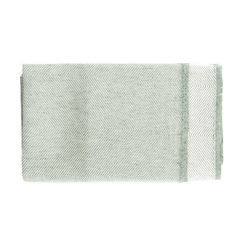 Herringbone Bath Towel, 50 % linen/cotton green