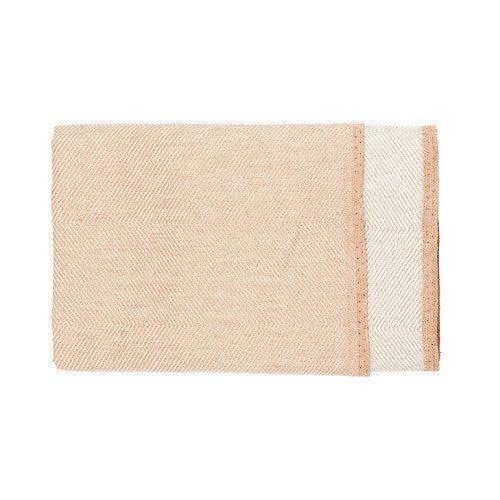 Herringbone Bath Towel, 50 % linen/cotton coral