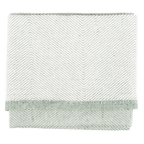 Herringbone Tea Towel, 50 % linen/cotton green