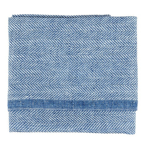 Herringbone Tea Towel, 50 % linen/cotton blue
