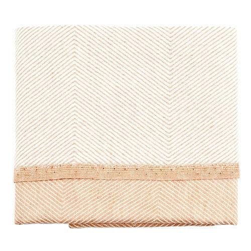 Herringbone Tea Towel, 50 % linen/cotton coral